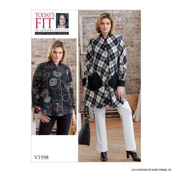 Patron Vogue V1598: Chemisiers trapèze