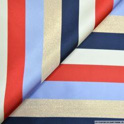 Satin polyester rayures multicolore et doré