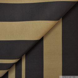 Polyester larges rayures kaki et noir