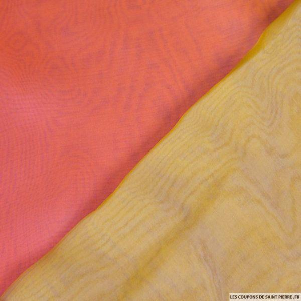 Mousseline de Soie dégradé jaune et rose