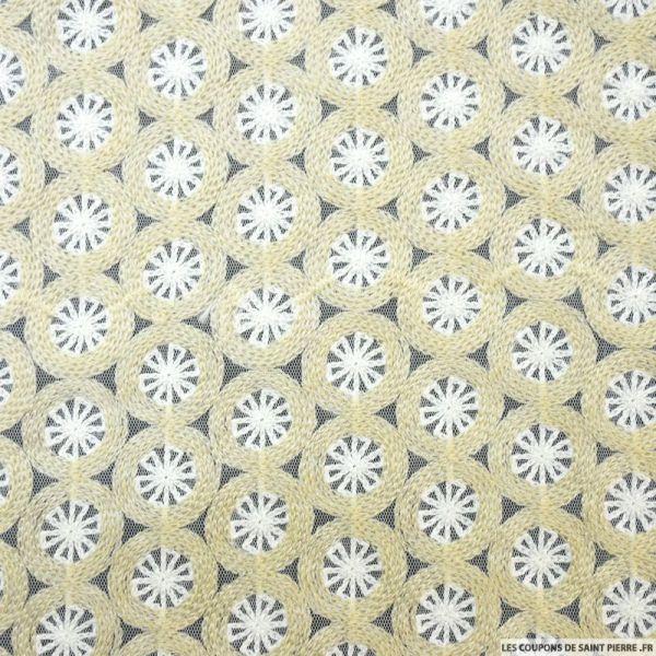 Tulle brodé blanc cercles beige