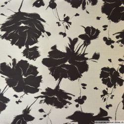 Brocart jacquard polyester fleurs noir et gris