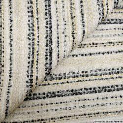 Tweed polyester rayures noir écru et doré