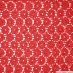 Dentelle polycoton fleurs rouge