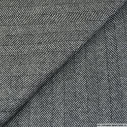 Drap de laine rayé chevrons gris