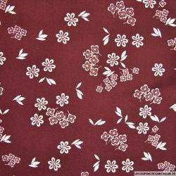 Tissu microfibre imprimé marguerite retro fond bordeaux