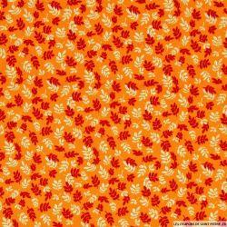 Microfibre imprimé automne fond orange