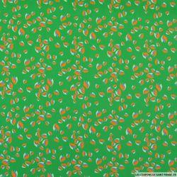 Microfibre imprimé pétale tricolore fond vert