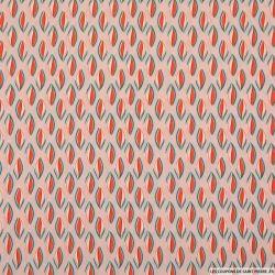Microfibre imprimée feuille bicolore fond rose