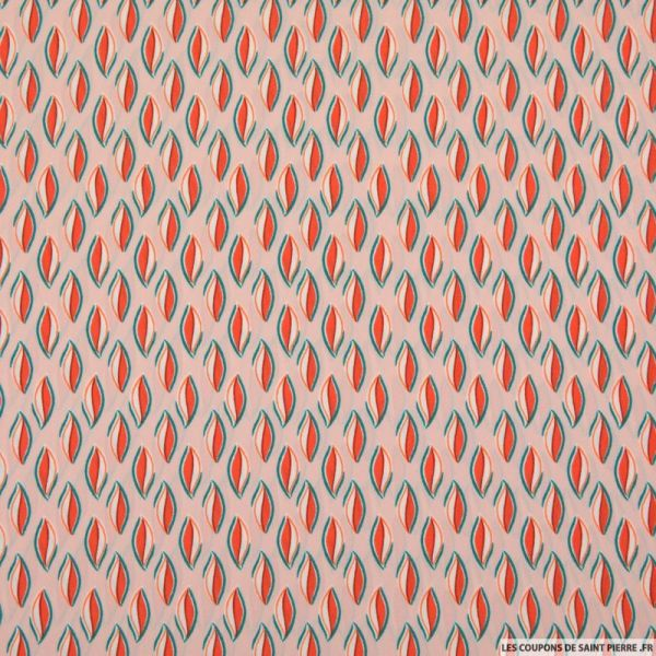 Microfibre imprimé feuille bicolore fond rose