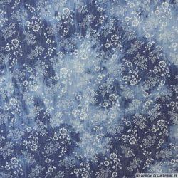 Chambray polycoton tie and dye jean's foncé fleurs