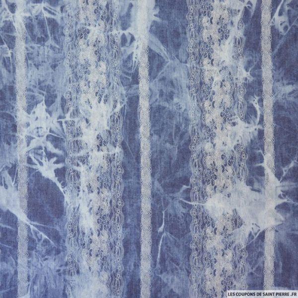 Chambray polycoton tie and dye jean's effet dentelle