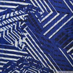 Mousseline de Soie imprimée graphique bleu