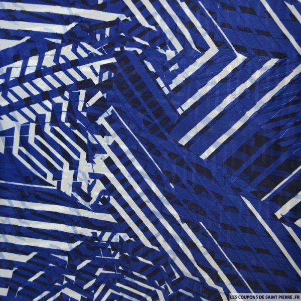Mousseline de Soie et viscose imprimée graphique bleu