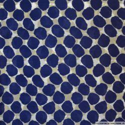Mousseline de Soie imprimée pois bleu