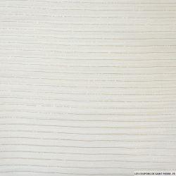 Voile de soie rayé doré sur fond blanc cassé