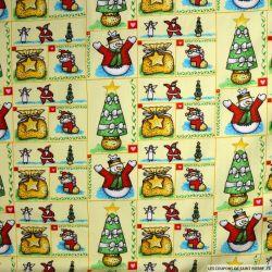 Coton imprimé cadeaux de noël jaune