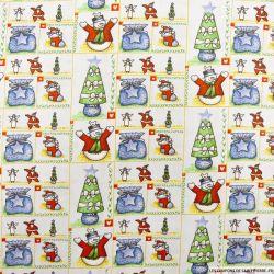 Coton imprimé cadeaux de noël bleu pastel