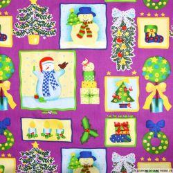 Coton imprimé bonhomme de neige violet