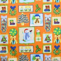 Coton imprimé bonhomme de neige orange
