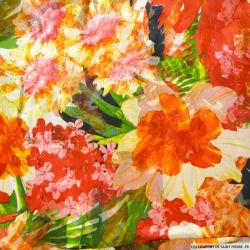 Mousseline de soie dévorée imprimé fleurs orange et rouge