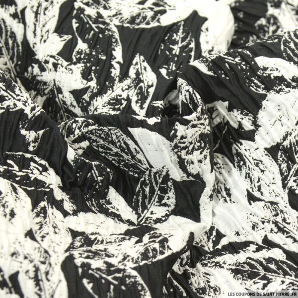 Brocart feuillage noir et blanc cassé