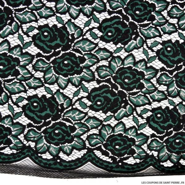 Dentelle brodée fleurs noir et vert