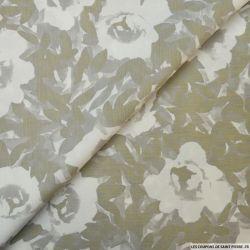 Lin mélangé imprimé fleurs fond crème