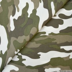 Lin mélangé imprimé camouflage