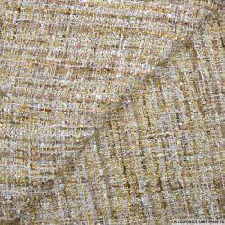 Tweed polyviscose fantaisie or et blanc cassé