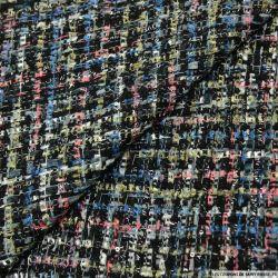 Tweed polyviscose fantaisie noir, rose et bleu
