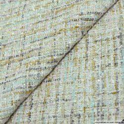 Tweed polyester fantaisie gris, rose et or