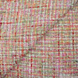 Tweed polyester fantaisie gris,rose et or