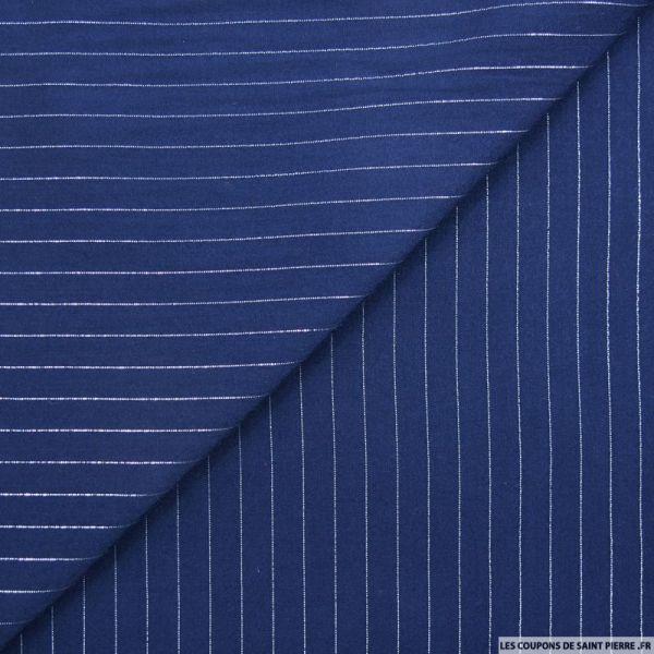 Voile de viscose rayures lurex marine