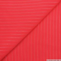 Voile de viscose rayures lurex rouge