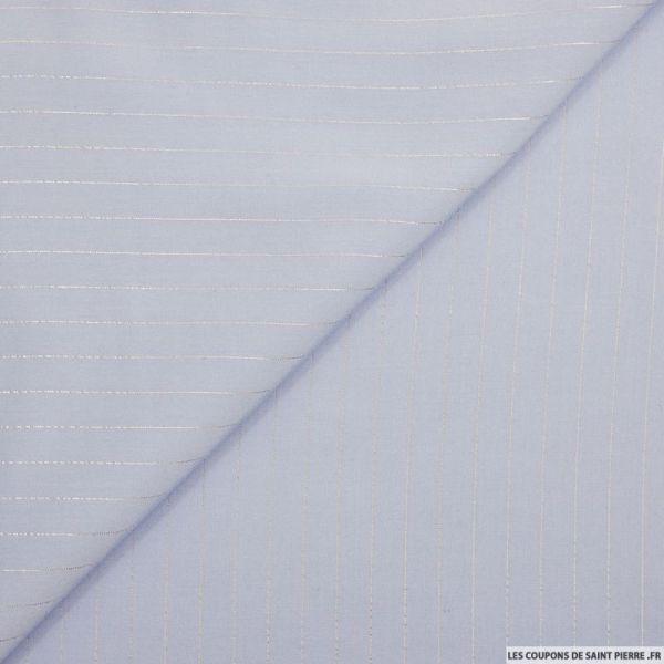 Voile de viscose rayures lurex bleu