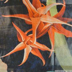 Voile de soie irisé imprimé fleurs orange