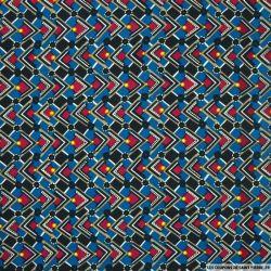 Microfibre imprimée damier bleu, lie de vin et doré