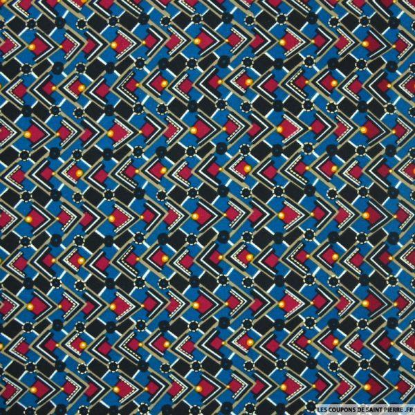 Microfibre imprimé damier bleu, lie de vin et doré