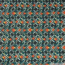 Microfibre imprimée damier vert, rouille et doré
