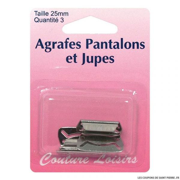 Agrafes 25 mm Pantalons -jupes - col. nickel