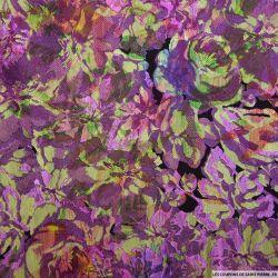 Brocart fleurs violet et doré