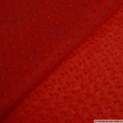 Tulle plumetis floqué rouge vendu au mètre