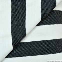 Jacquard de polycoton rayé noir et blanc