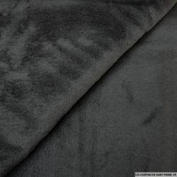 Fourrure Synthétique noir contrecollé maille noir