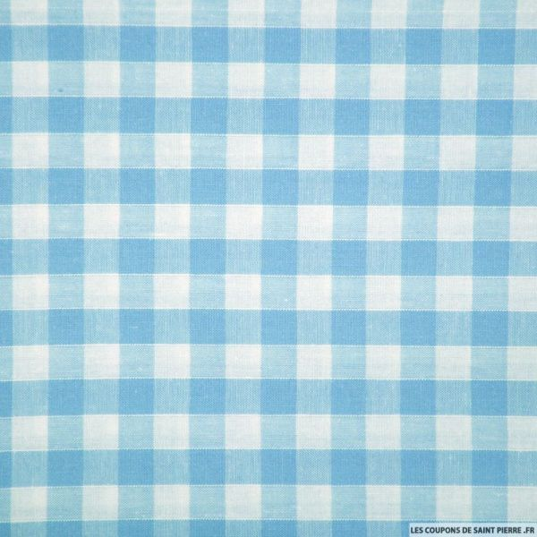 Tissus Coton Vichy 8mm bleu azurin