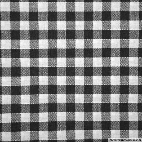Tissus Coton Vichy 8mm noir
