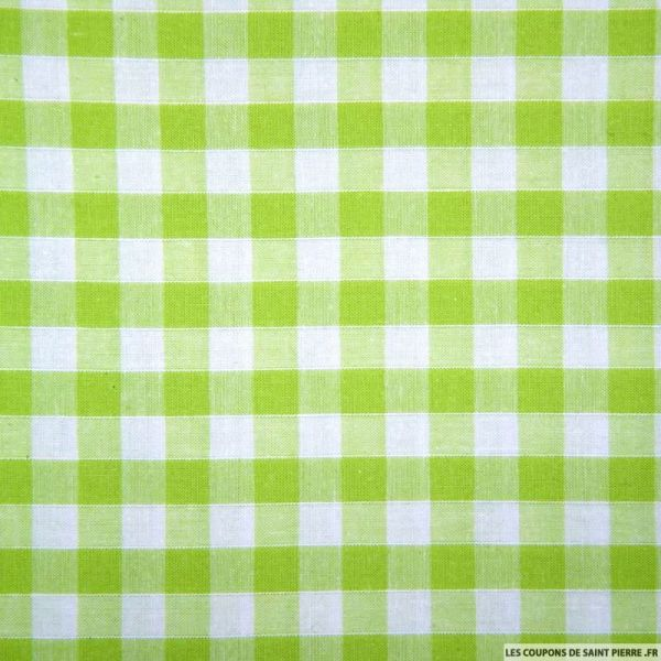 Tissus Coton Vichy 8mm vert anis