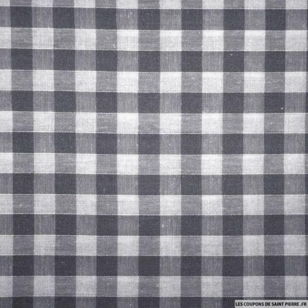 Tissus Coton Vichy 8mm gris