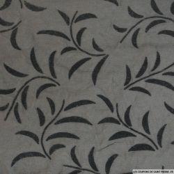 Velours de soie dévoré feuilles